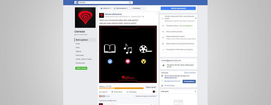 Social Media - prowadzenie facebooka Genesis