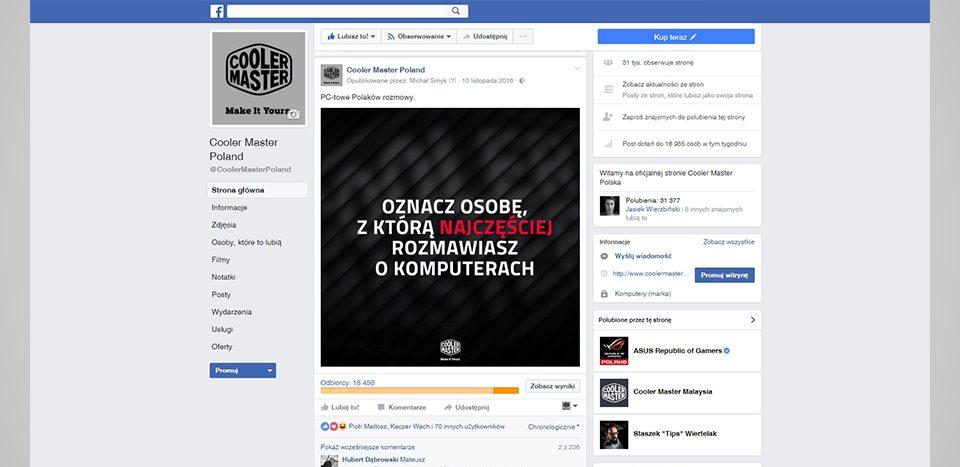 Social Media - prowadzenie facebooka Cooler Master