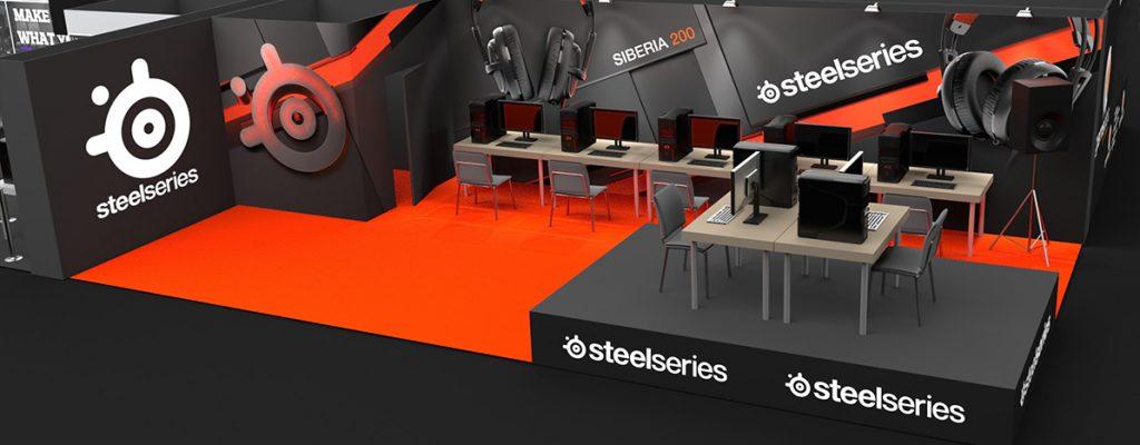 zabudowa targowa - Projekt stoiska na PGA- Steel Series