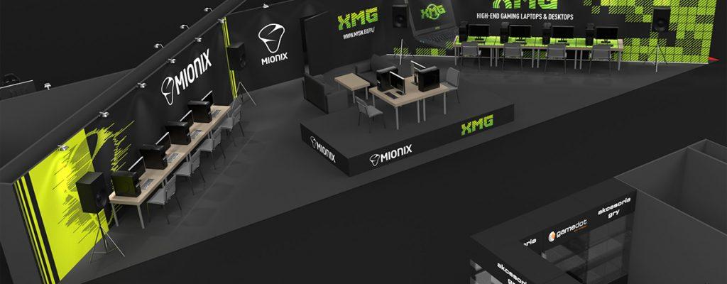 zabudowa targowa - Projekt stoiska na PGA- XMG/ Mionix