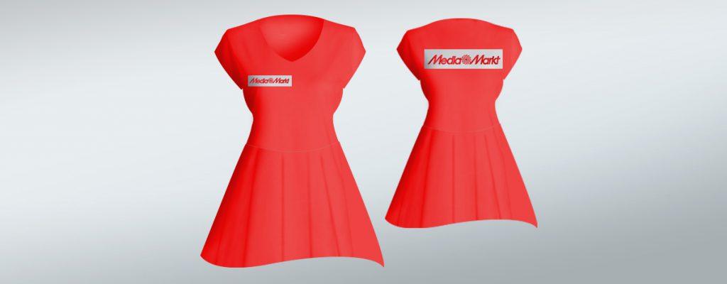 Tekstylia z nadrukiem - stroje dla hostess - media markt